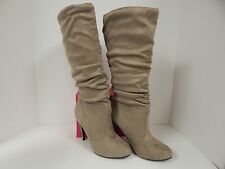 """ShoeDazzle Melrose Women's Light Taupe Faux Suede 4"""" Heel Tall Size 6.5M"""