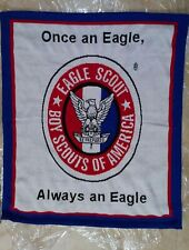 Rare Eagle Scout Red White Blue Eagle Emblem Plush Acrylic Knit Throw Blanket