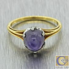 Antique Art Deco 18k Yellow Gold & Platinum 3.88ct Star Sapphire Cocktail Ring