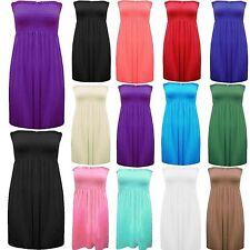 Women Sleeveless Boobtube Bandeau Mini Ladies Sheering Short Dress Plus Size