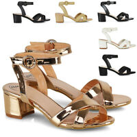 Womens Mid Low Block Heel Peep Toe Ladies Ankle Strap Strappy Party Sandals Size