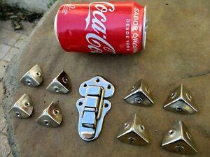 Unused Nickel Plated Set Drawbolt & 8 Corner Chest Trunk Lock Latch Case Box
