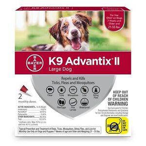 K9 ADVANTIX II FLEA AND TICK CONTROL FOR DOG 21-55 LBS - 2 PACK NEW IN BOX
