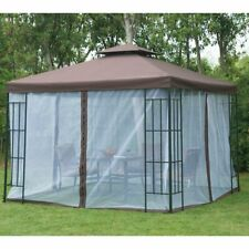 Outdoor Gazebo 3x3m Polycarbonate Roof Mosquito Net Garden Metal Marquee Patio