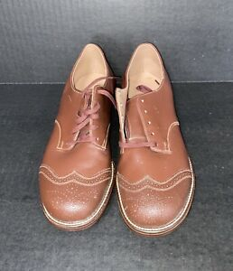 DEADSTOCK 1950's Poll-Parrot Brown Leather Oxford Kids Shoes, 2.5D