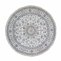 "7'2""x7'2"" Round Ivory Nain 250 KPSI Wool &Silk Hand Knotted Oriental Rug R49984"