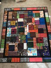 "Quilt - Handmade with Original African Fabrics 71"" x 82"""