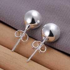 Silver Plated Ball Stud Earrings.8mm in Diameter.Womens Heavy 925 Sterling
