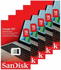 New Sandisk 16gb Cruzer Fit Usb 2 0 Flash Mini Pen Drive Sdcz33 Pack 5