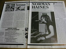 NORMAN HAINES - MAGAZINE CUTTINGS (ARTICLE) (REF Z)