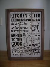 KITCHEN RULES WOODEN WALL SIGN PLAQUE
