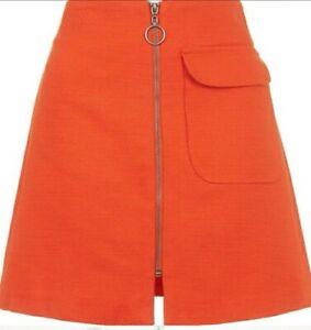 Topshop Retro 70's Textured Burnt Orange Mini Skirt Full Length Zip Size 12 New