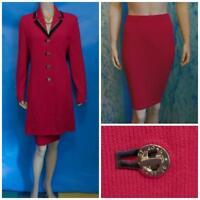 ST JOHN Collection Red Jacket Skirt L 12 10 2pc Suit Buttons Gold Black Trims