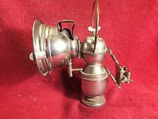 NICE ANTIQUE BICYCLE CARBIDE LAMP LANTERN with HANDLE & CURVED GLASS VINTAGE