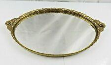 Large Antique/Vtg Gold Brass Ormolu Flower Mirrored Vanity Perfume Dresser Tray