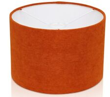 Burnt Orange / Rust Fine Chenille Linen Style Cylinder / Drum Lampshade Ceiling