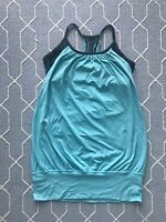 Lululemon No Limits Blue Tank Top Built in Bra Banded Athletic Yoga Lycra SZ 2