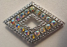 Silver Pin Aurora Borealis Art Deco Diamond Shaped