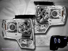 09 10 11 FORD F150 CCFL TWIN HALO LED CHROME PROJECTOR HEADLIGHTS