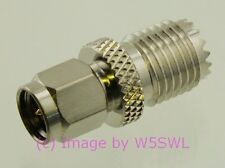 SMA Male to Mini-UHF MUHF Female Coax Adapter Connector - by W5SWL ®