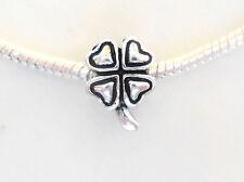 Silver Lucky Irish Shamrock Four Leaf Clover Charm St Patricks Day Bead Gift UK