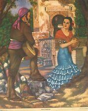 """RARE OLD ORIGINAL 1920'S SENORITA """"PATIO ANDALUZ"""" MEXICAN CALENDAR LITHOGRAPH"""