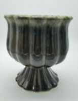 """Vintage Hull Pottery F88 Brown Pedestal Planter With Green Drip Glaze 6""""  USA"""