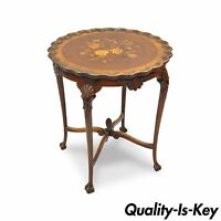 """Antique 28""""H French Louis XV Style Walnut Flower Inlaid Round Accent Side Table"""