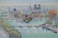 Rolf RAFFLEWSKI : Paris Vue de Notre Dame  - LITHOGRAPHIE originale signée, 25ex
