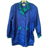 Cambridge Womens Jacket Blue Zip Up Pockets Collared Lined Drawstring Waist M