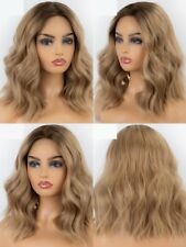 """14"""" Party Lace Front Wig Cosplay Short Wavy Synthetic Hair Fashion Ombre blonde"""