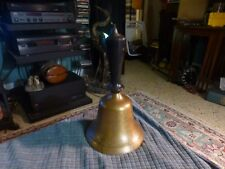 "Antique BRASS DINNER BELL Wood Handle W/ Natural age Patina & Crack 10"" LOUD !"
