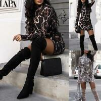 LAPA Womens Sexy Leopard High Neck Slim Mini Dress Long Sleeve Bodycon Dresses
