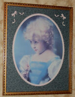 Vtg HOMCO Home Interior Picture PRINT Little Girl with Blond Hair in Wood Frame
