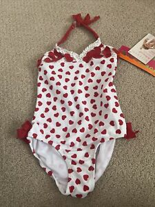 Kate Mack Baby Girls Red Heart Swimsuit/bathing Suit Size 5. Brand New