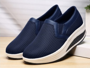 Womens Slip On Platform Trainers Pumps Ladies Mesh Breathable Loafers Shoes Size