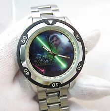 "STAR WARS,""The Force Awakens"" LUKE DIAL, RARE,HUGE MEN'S WATCH,SS BAND 721"