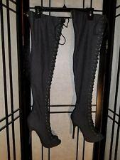 Lilliana peep toe corset lace-up stilletto denim thigh high boots sz 7 Sexy!