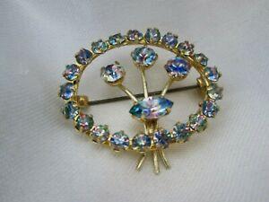 Vintage Rainbow Iris Glass Flower Floral Wreath Gold Tone Brooch Lapel Pin