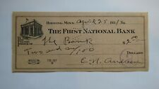 $2 1931 Hibbing Minnesota MN Cancelled Check! First National Bank