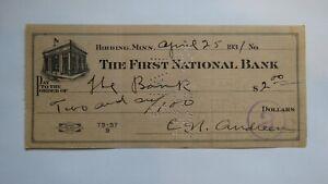 $2 1931 Hibbing Minnesota MN Cancelled Check! First National Bank