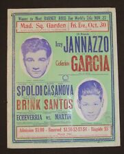 Early Boxing Poster New York 1936 Izzy Jannazzo Ceferino Garcia Box Sports Rare