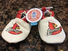 New NCAA baby booties skidders size 6-12 month Louisville Cardinals soft shoe