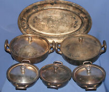 Antique German/Dutch silver plated set 5 lidded bowls and serving tray
