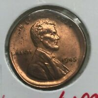 1945 Lincoln Wheat Cent Broadstrike Error - Uncirculated Red