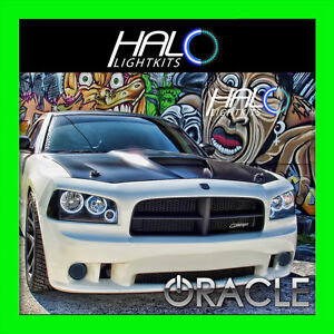 2006-2010 DODGE CHARGER WHITE LED TRIPLE HEADLIGHT HALO RING KIT by ORACLE