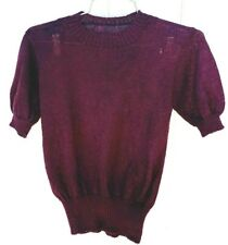 "Women's Vtg 1940s Maroon Wool Pullover Sweater Sz-S Puff sleeves 4"" Waistband"