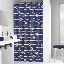 Extra Long Shower Curtain 72 x 78 Inch Sealskin Nautical Rope Blue Fabric