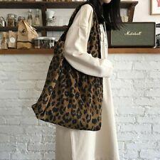Women Large Corduroy Shoulder Shopping Bag Leopard Print Tote Bags Handbag