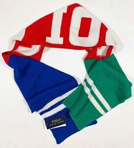 Men's POLO RALPH LAUREN Stadium Ski Colors Logo Scarf Muffler NWT NEW CooL!